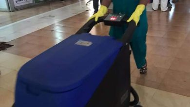 Warfare cleaning with modern floor scrubber machines to keep civil hospital clean and tidy